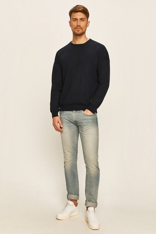 Guess Jeans - Sweter granatowy