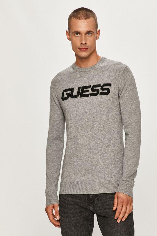jasny szary Guess Jeans - Sweter Męski