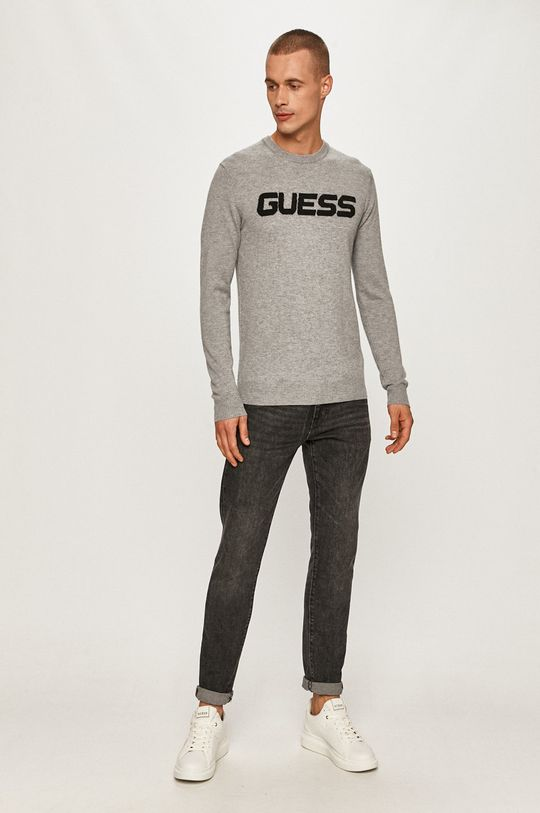 Guess Jeans - Sweter jasny szary