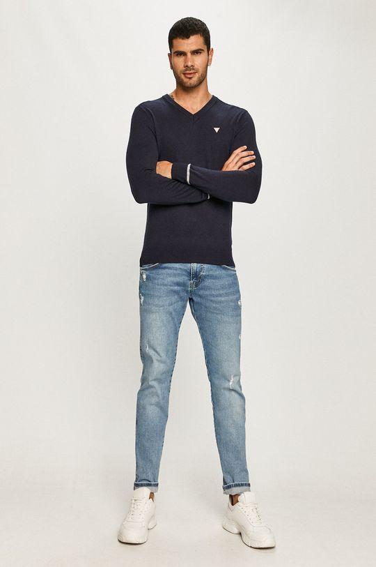 Guess Jeans - Sveter tmavomodrá