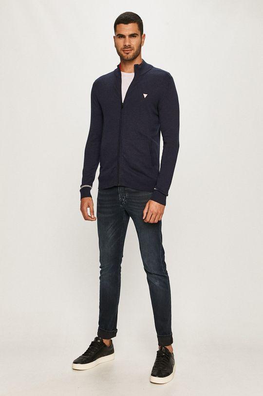 Guess Jeans - Kardigán tmavomodrá