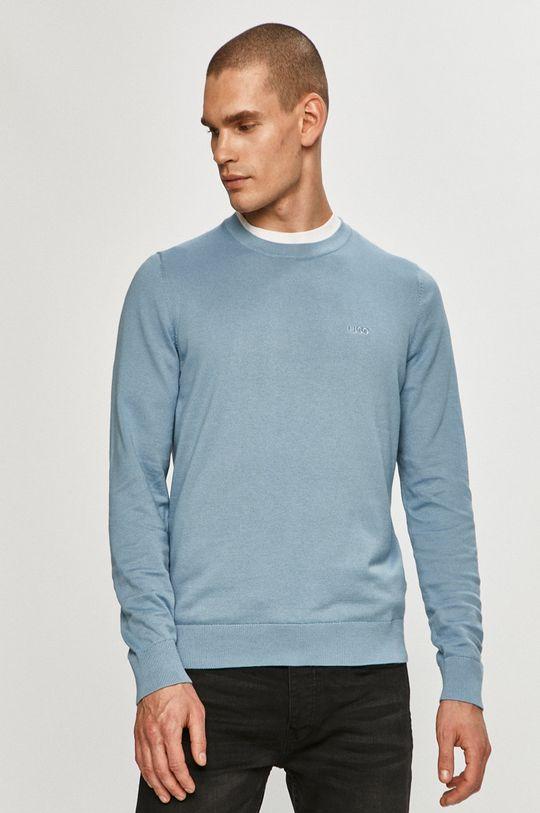 niebieski Hugo - Sweter Męski