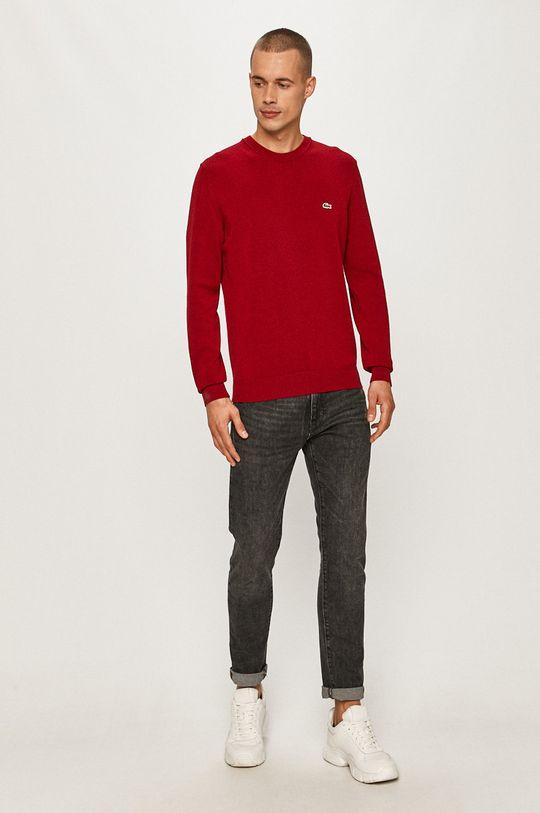 Lacoste - Sweter kasztanowy