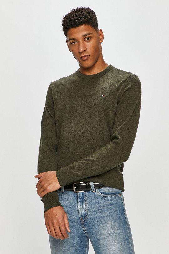 zielony Tommy Hilfiger - Sweter MW0MW15769 Męski