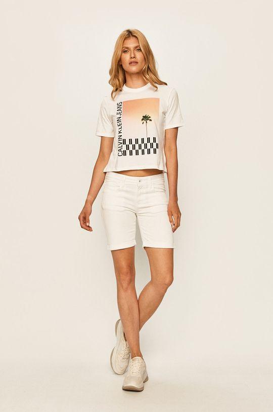 Pepe Jeans - Džínové šortky Popy Short Pride bílá