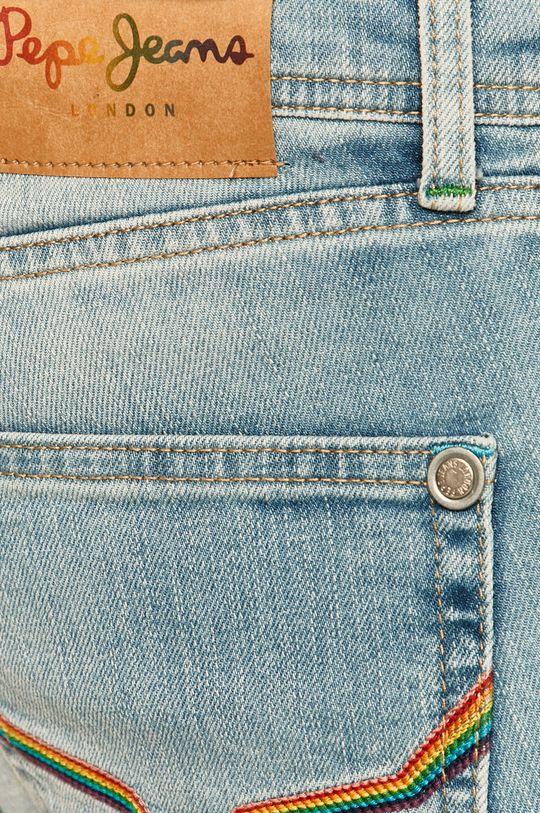 modrá Pepe Jeans - Rifľové krátke nohavice Cane