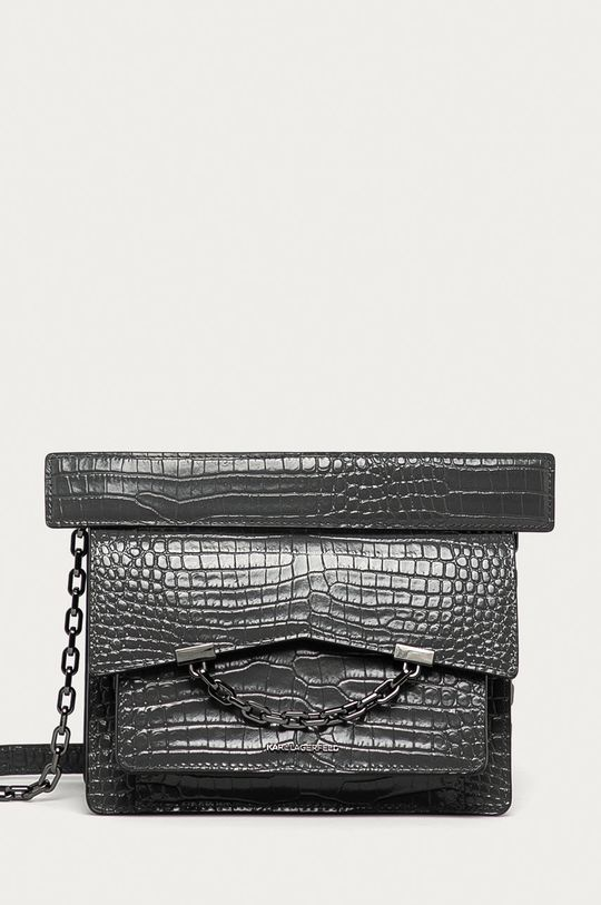 světle šedá Karl Lagerfeld - Kožená kabelka Dámský
