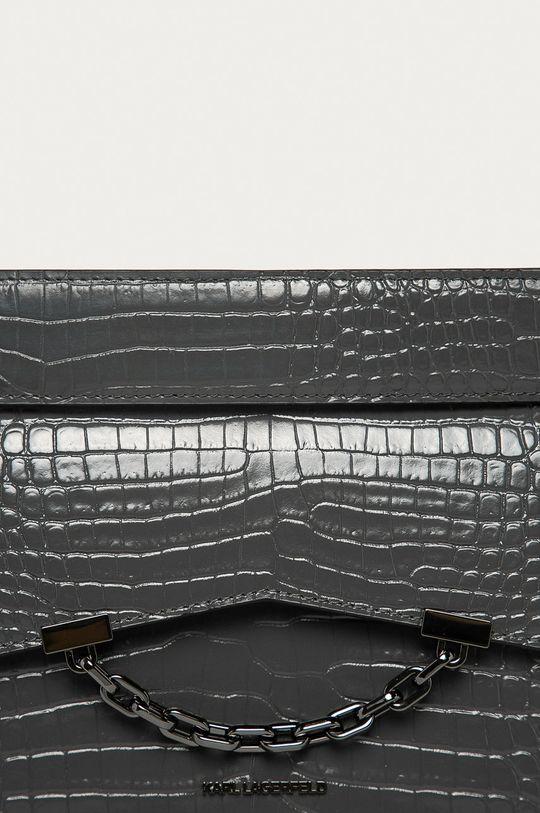 Karl Lagerfeld - Kožená kabelka světle šedá