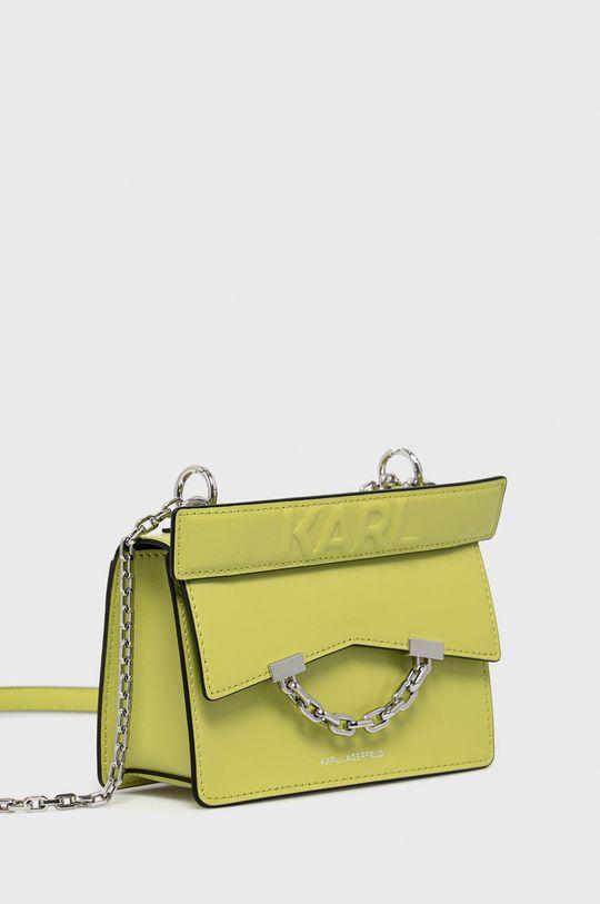 Karl Lagerfeld - Torebka skórzana żółto - zielony