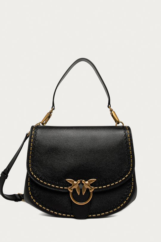 čierna Pinko - Kožená kabelka Dámsky
