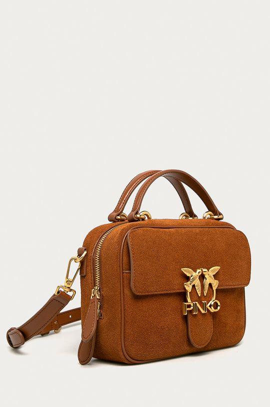 Pinko - Kožená kabelka hnedá