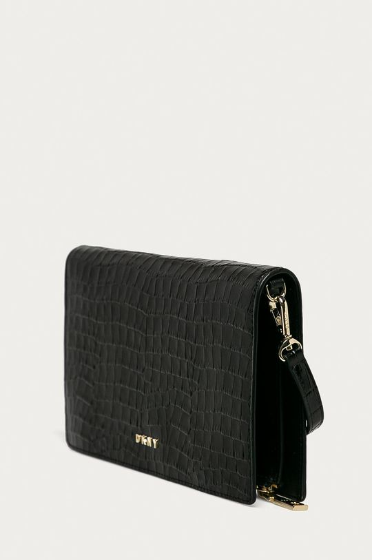 Dkny - Kožená listová kabelka čierna