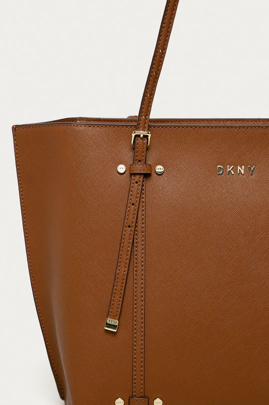 Dkny - Kožená kabelka zlatohnědá