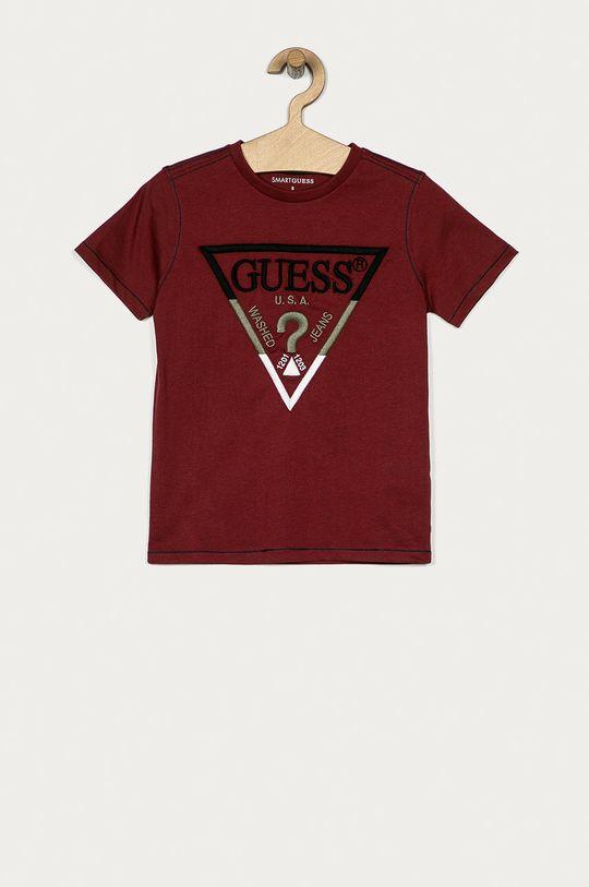 mahoniowy Guess - T-shirt dziecięcy 116-175 cm Chłopięcy