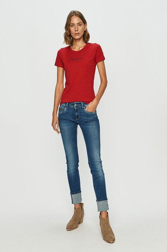 Pepe Jeans - Tricou Virginia rosu ascutit