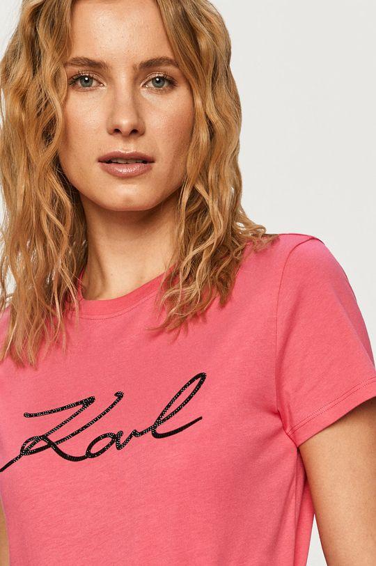 Karl Lagerfeld - Tričko ostrá růžová