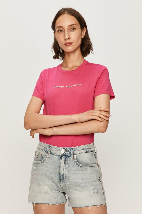 różowy Diesel - T-shirt Damski