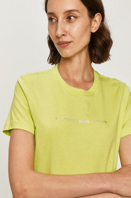 żółto - zielony Diesel - T-shirt Damski