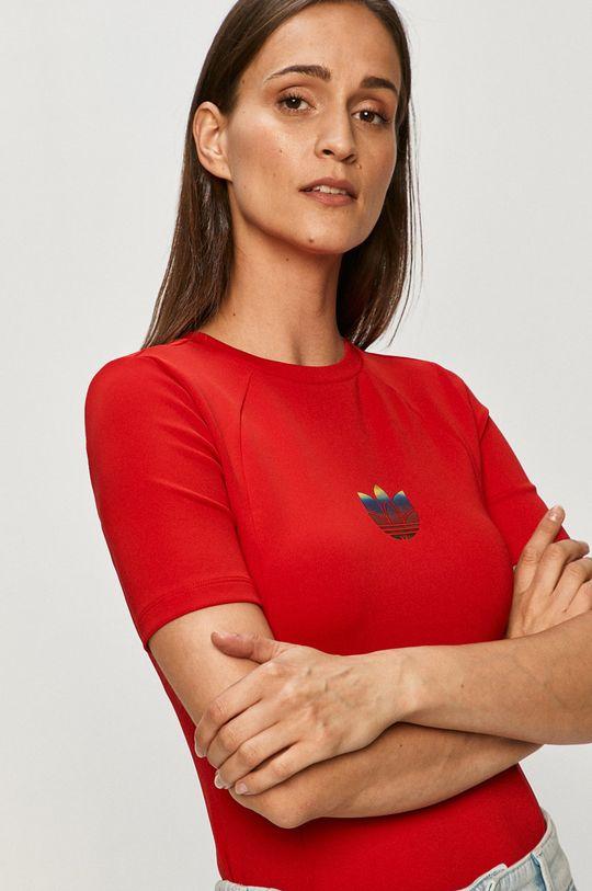 czerwony adidas Originals - T-shirt