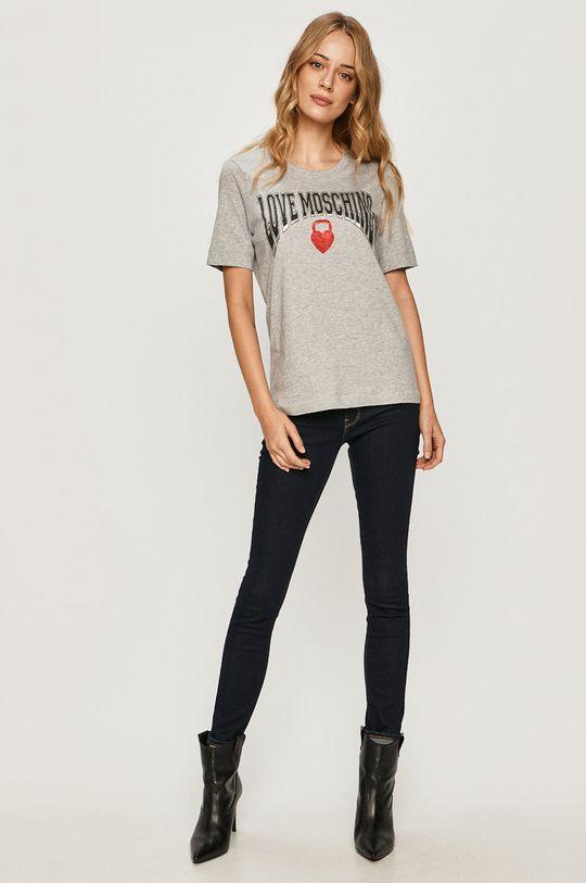 Love Moschino - T-shirt jasny szary