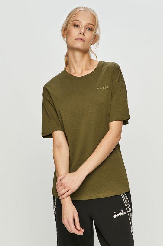 oliwkowy Diadora - T-shirt Damski