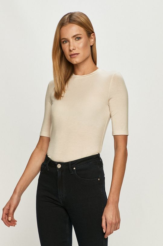 kremowy Vero Moda - T-shirt Damski