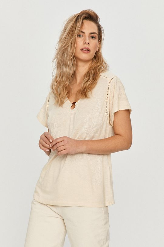 kremowy Desigual - T-shirt Damski
