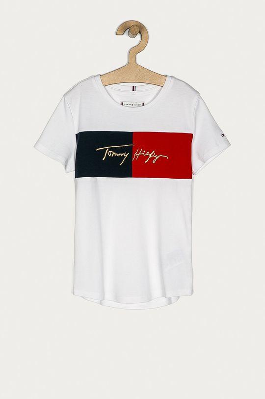 alb Tommy Hilfiger - Tricou copii 128-176 cm De fete