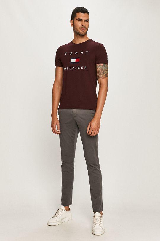 Tommy Hilfiger - T-shirt kasztanowy