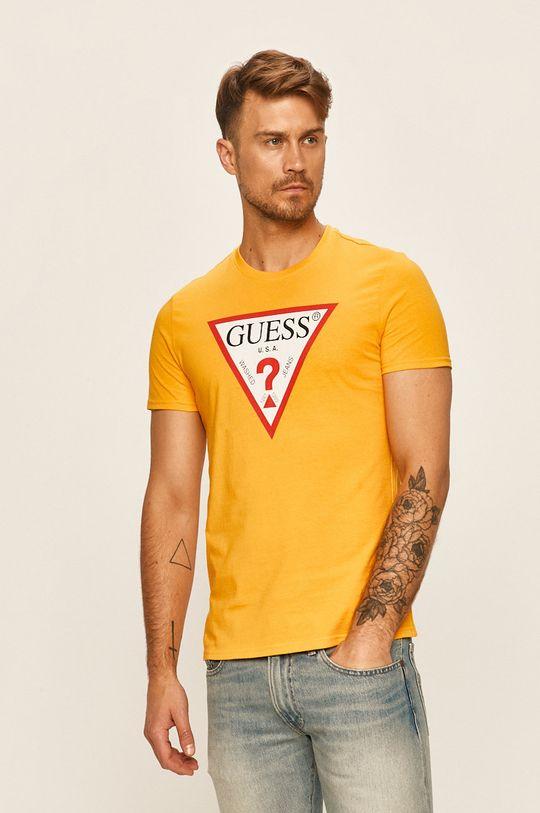 žlutá Guess Jeans - Tričko Pánský