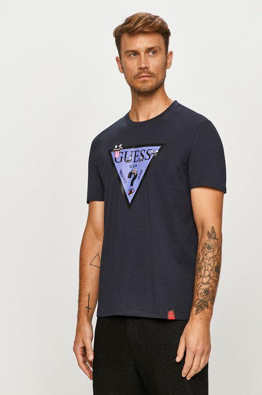 tmavomodrá Guess Jeans - Tričko Pánsky
