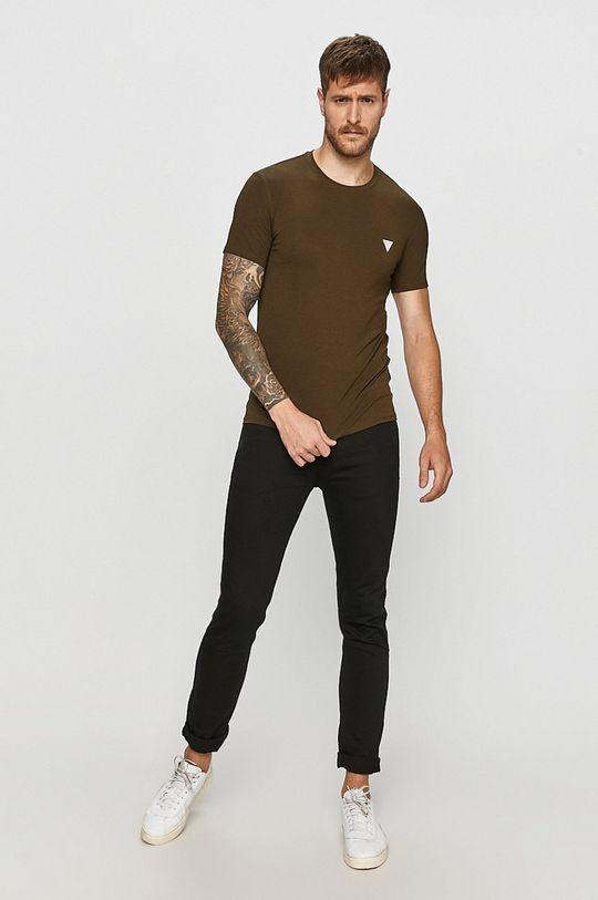 Guess Jeans - Tričko tlumená zelená