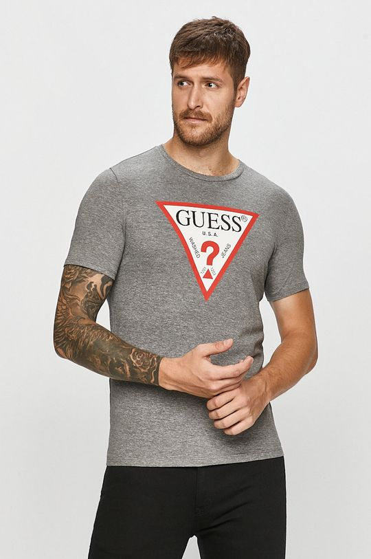 jasny szary Guess Jeans - T-shirt Męski