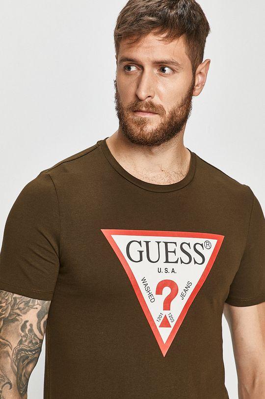 brudny zielony Guess Jeans - T-shirt Męski
