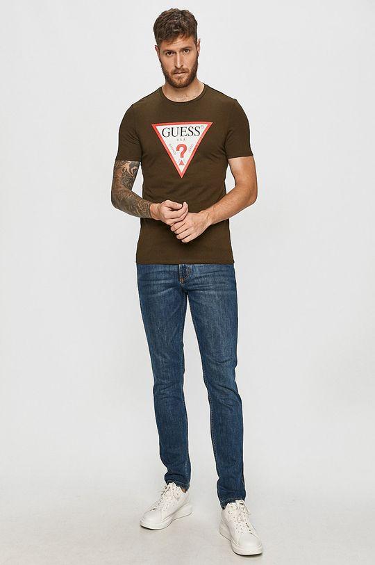 Guess Jeans - T-shirt brudny zielony