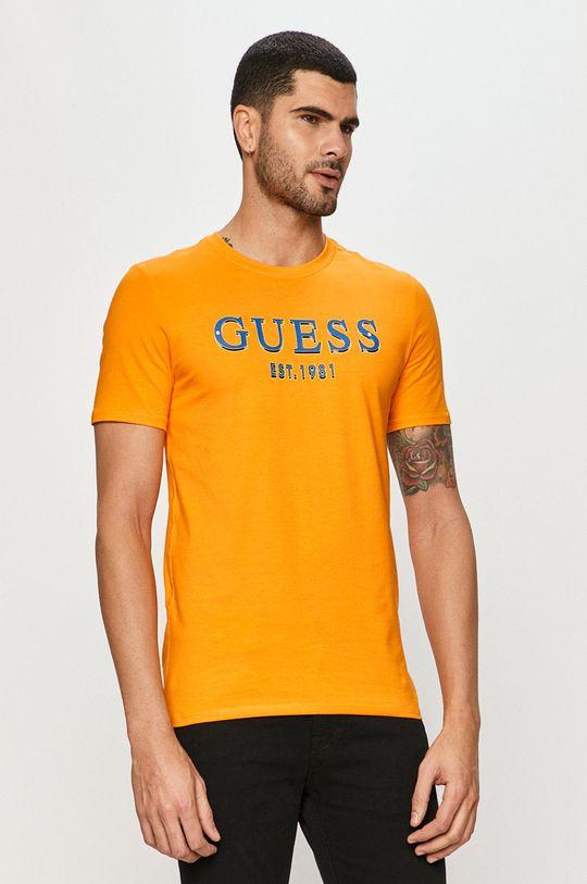 oranžová Guess Jeans - Tričko Pánsky