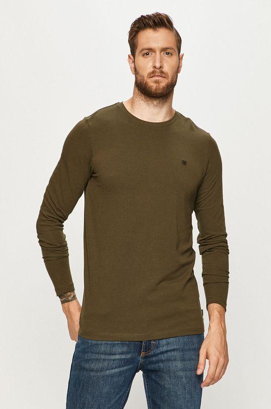 zelená Premium by Jack&Jones - Tričko s dlhým rukávom Pánsky