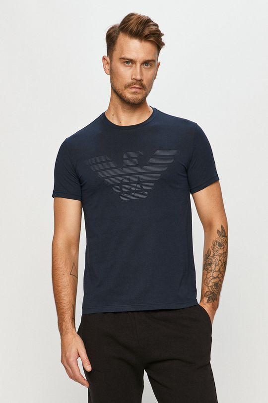 granatowy Emporio Armani - T-shirt Męski
