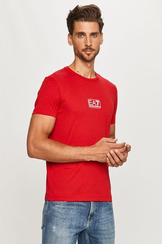 czerwony EA7 Emporio Armani - T-shirt Męski