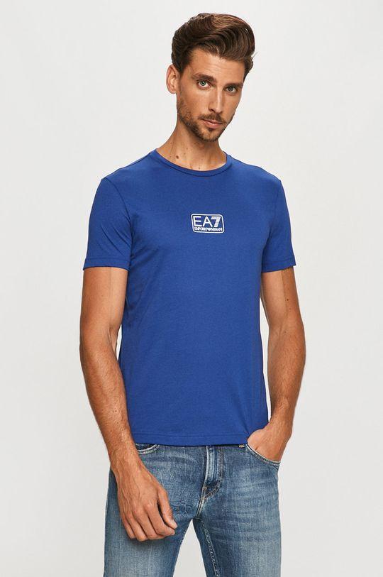 niebieski EA7 Emporio Armani - T-shirt Męski