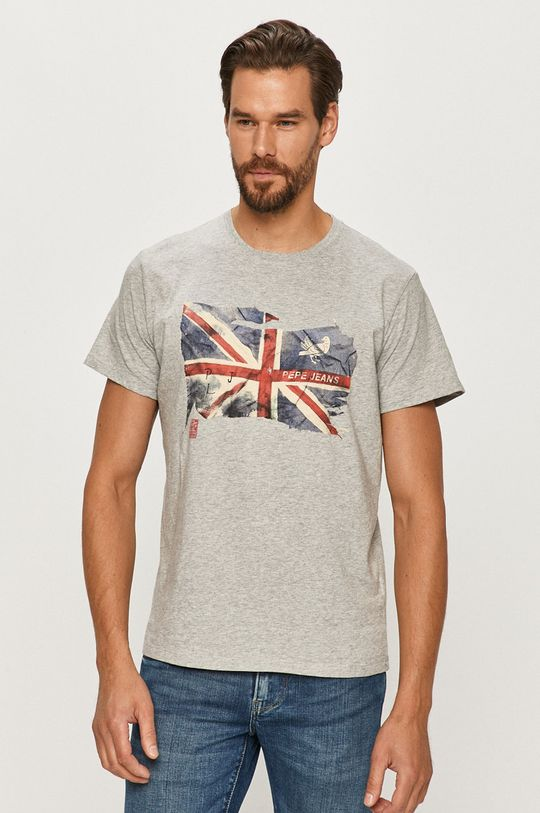 szary Pepe Jeans - T-shirt Sid Męski