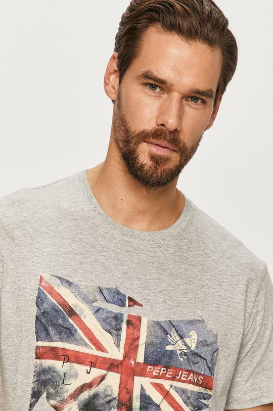 szary Pepe Jeans - T-shirt Sid