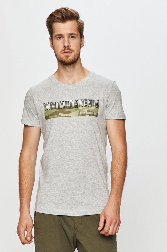 jasny szary Tom Tailor Denim - T-shirt Męski