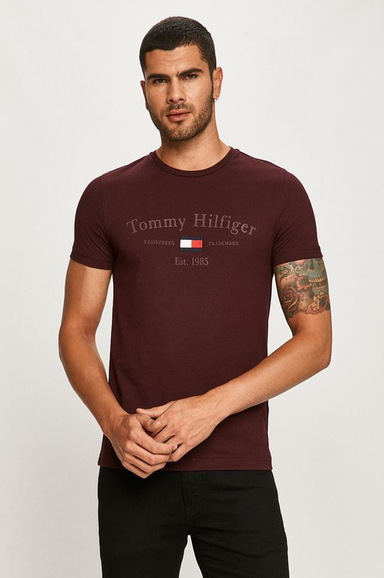 gaštanová Tommy Hilfiger - Tričko Pánsky