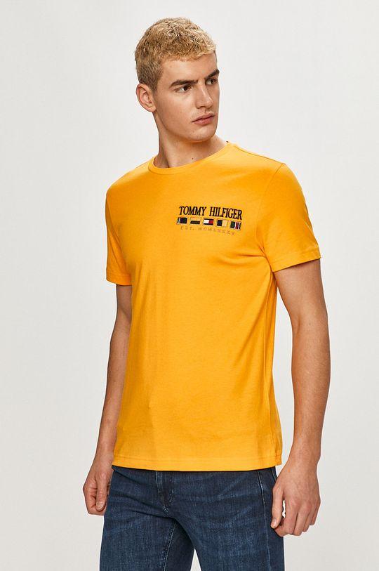 oranžová Tommy Hilfiger - Tričko Pánský