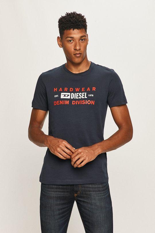 granatowy Diesel - T-shirt Męski