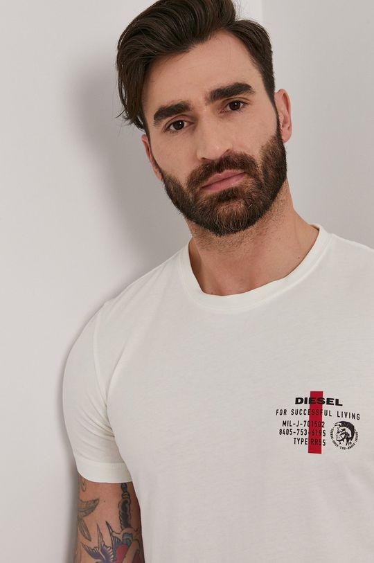 kremowy Diesel - T-shirt Męski