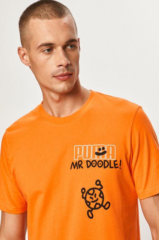 oranžová Puma - Tričko x Mr Doodle Pánsky