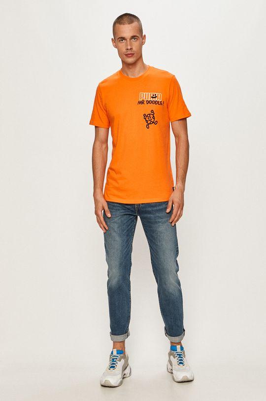 Puma - Tričko x Mr Doodle oranžová
