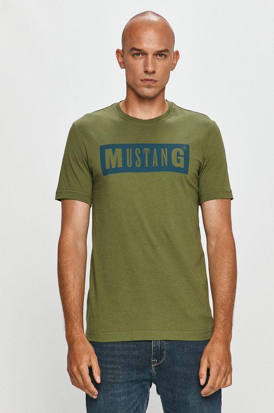 hnedozelená Mustang - Tričko Pánsky